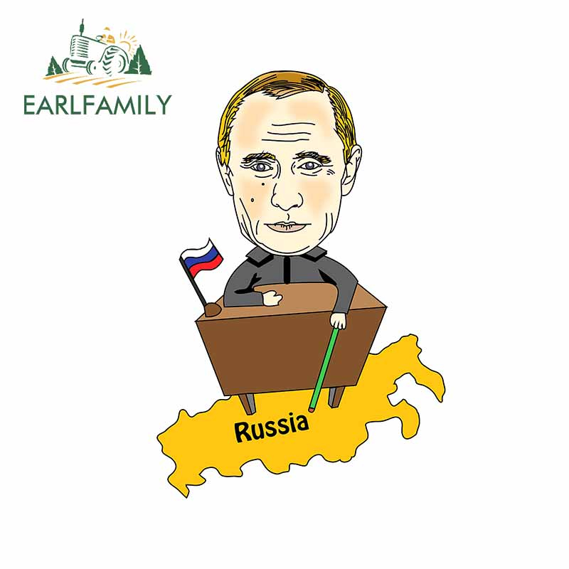 EARLFAMILY, 13cm x 9cm para Putin, pegatina para campista y mapa de Rusia, DIY, resistente al agua, accesorios JDM, pegatina de vinilo 3D a prueba de arañazos para Camper