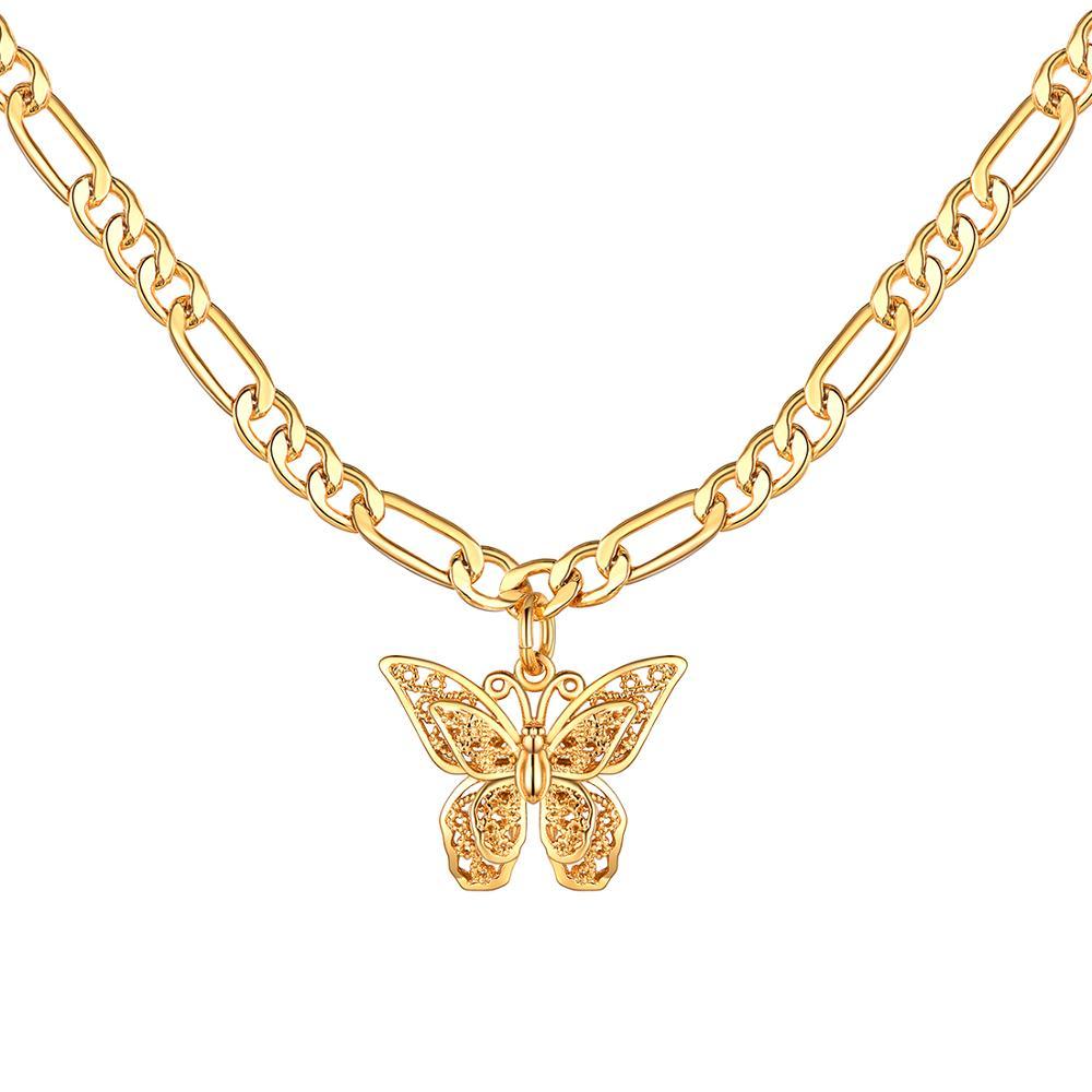 U7 delicado pendientes de mariposa dorados collar con Animal bonito gargantilla de mujer con cadena Figaro de 16 pulgadas chicas adolescentes regalos de joyería P1041