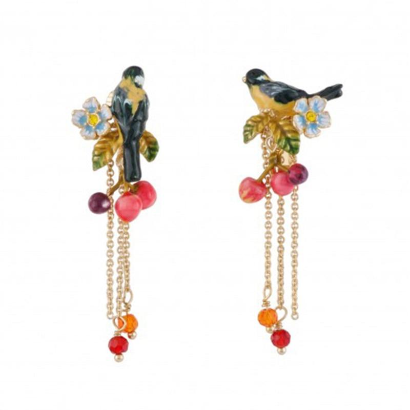 New Product Enamel Glaze Hand-painted Yellow Oriole Bird Small Cherry Stud Earrings Long Tassel Earrings Foreign Trade Jewelry