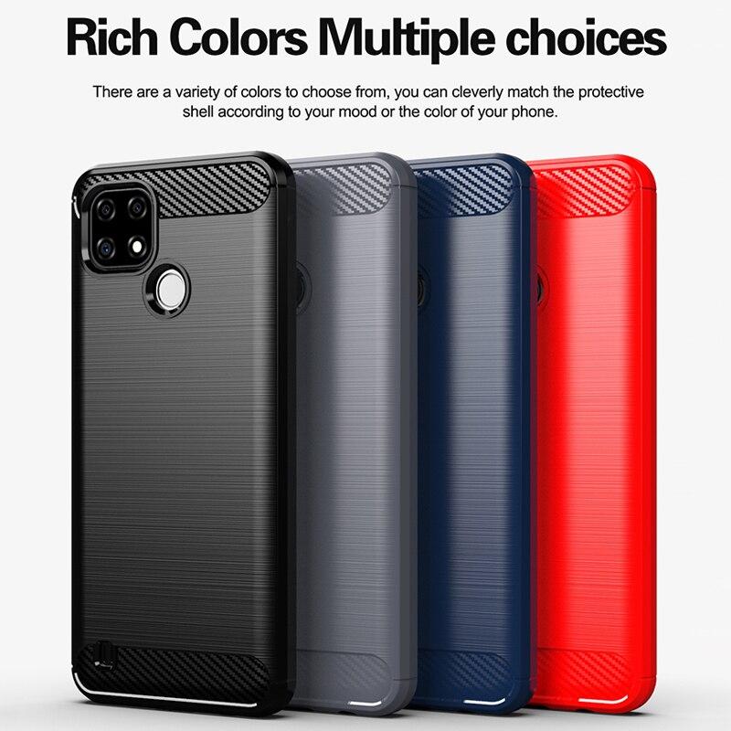 For Realme C21 Case Carbon Fiber TPU Flex Shockproof Soft Silicone Phone Cover for Realme C21 Case f