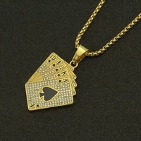 playing card shape crystal inlaid pendant necklace mens necklace new fashion metal pendant accessories party jewelry