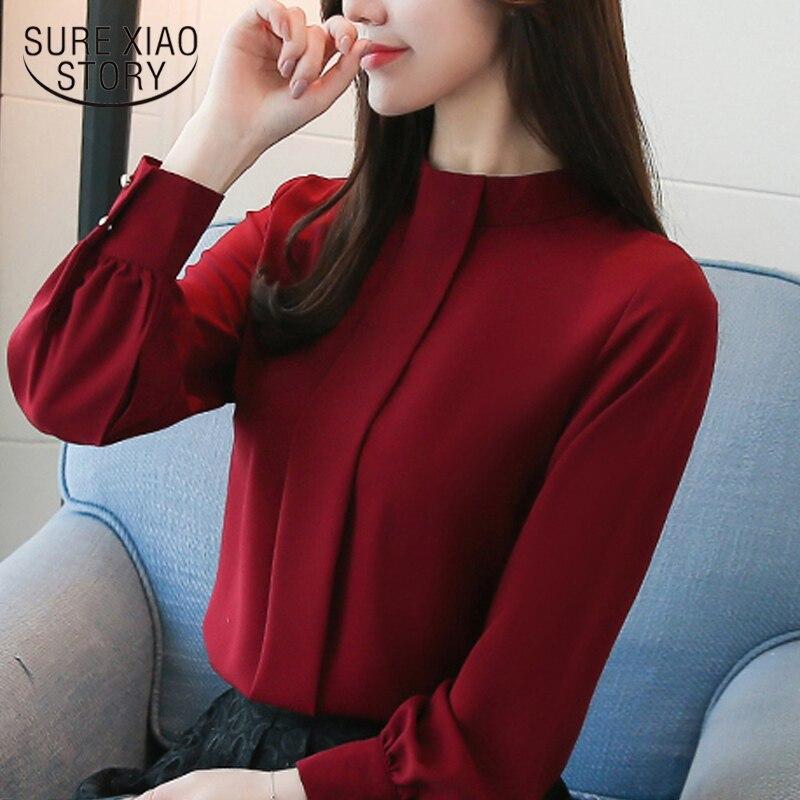 ¡Novedad de 2020! blusas de manga larga para mujer, blusa informal a la moda de chifón OL, ropa para mujer, blusas con cuello levantado D456 30