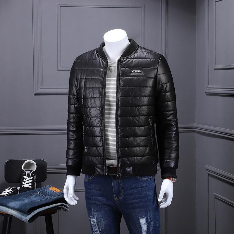 Мужская кожаная куртка с хлопковой подкладкой, утепленная модная Толстая Мужская куртка, Мужская свободная куртка из плотной кожи на осень ...