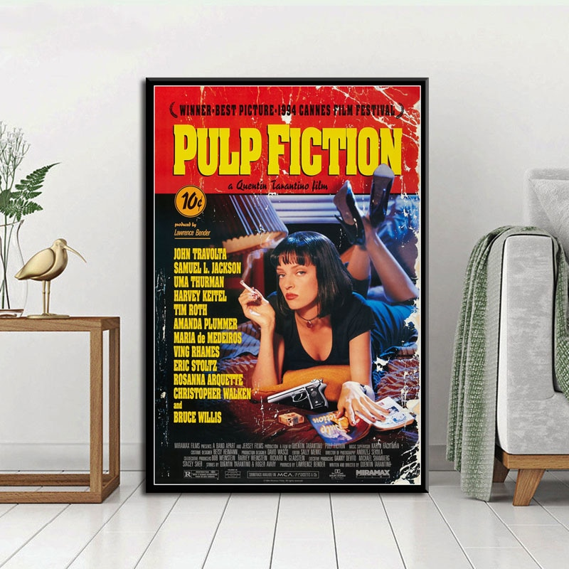pulp-fiction-classic-movie-quentin-tarantino-vintage-canvas-painting-funny-art-posters-and-print-wall-art-picture-for-home-decor
