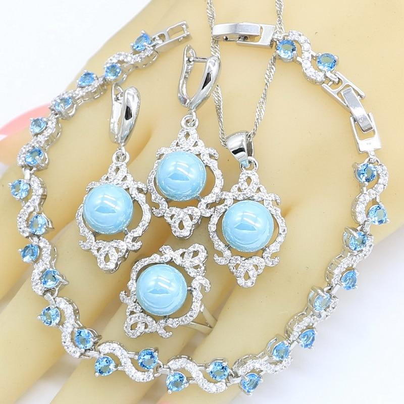 Conjuntos de joyas de perlas de Color plateado y azul para mujer, pendientes, anillos, collar, colgante, pulsera semipreciosa