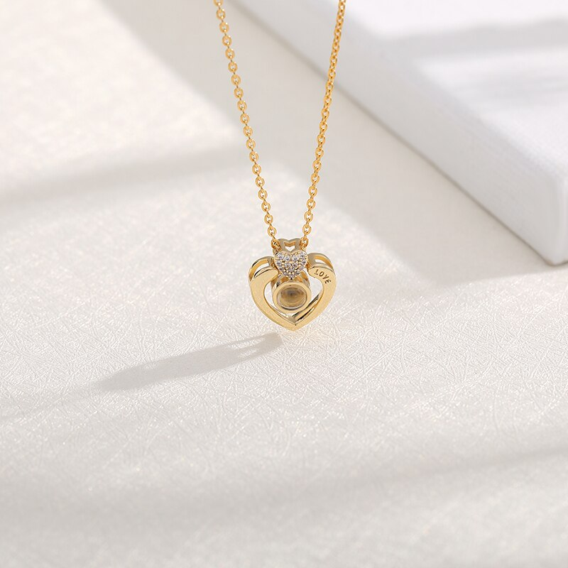 I love you Projection Pendant Necklace Romantic Love Memory Wedding Necklace Rose Gold&Silver 100 languages недорого