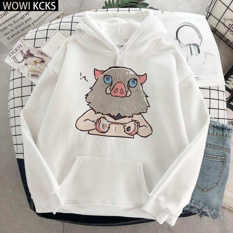 Demônio slayer inverno moletom feminino hoodies moletom manga longa roupas kimetsu não yaiba pulôver demônio lâmina streetwear