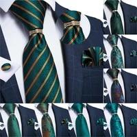 dibangu designer mens necktieteal green paisley striped wedding tie for men ring hanky cufflinks silk tie set business party