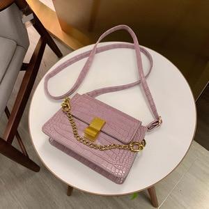 Western Style Shoulder Bag 2021 Crocodile Pattern Small Square Bag Fashion Chain Textured Handbag Internet Celebrity Wild
