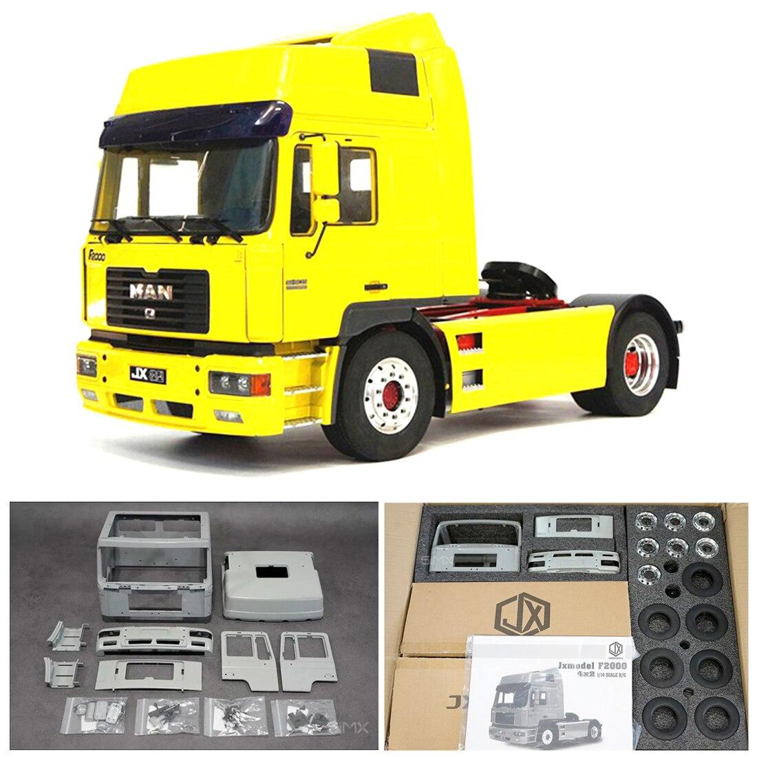 JXmodel 1/14 4x2 سبائك الألومنيوم شاحنة تعمل بجهاز التحكم عن بعد مقطورة RC شاحنة جرار للأطفال ألعاب تعليمية هدية عدة الإصدار