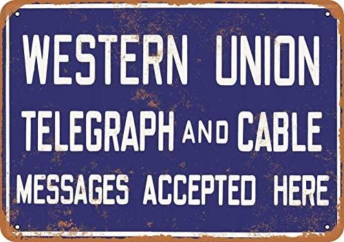 Western Union Telegraph y Cable cartel Metal Retro cartel de hojalata Vintage...