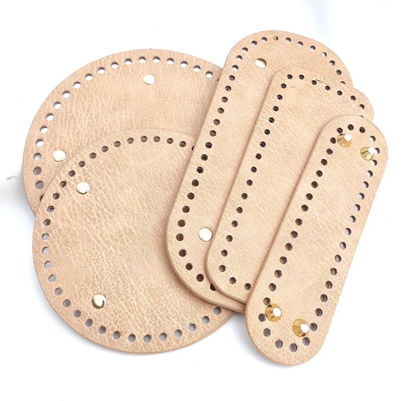 High Qualtiy Round Leather Bottom With Holes Rivet For Knitting Bag Handbag DIY Women Shoulder Crossbody Bags Accessories