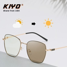 KIYO Brand 2020 New Women Men Square Anti-Blue Light Photochromic Sunglasses Metal Fashion Sun Glass