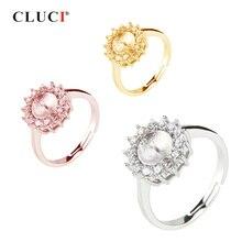 CLUCI argent 925 réglable fleur femmes bague bijoux en argent Sterling tournesol en forme de perle anneau de montage SR2018SB