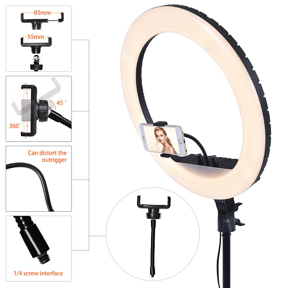 fosoto 18 Inch RGB Professional Ring Light Photography Led Ring Lamp With Remote USB Port Tripod For Phone Youtube Makeup Tiktok enlarge