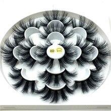 7 paires de cils de vison 3D 25mm cils de vison cils dramatiques faits à la main naturel long et doux extension de faux cils maquillaje