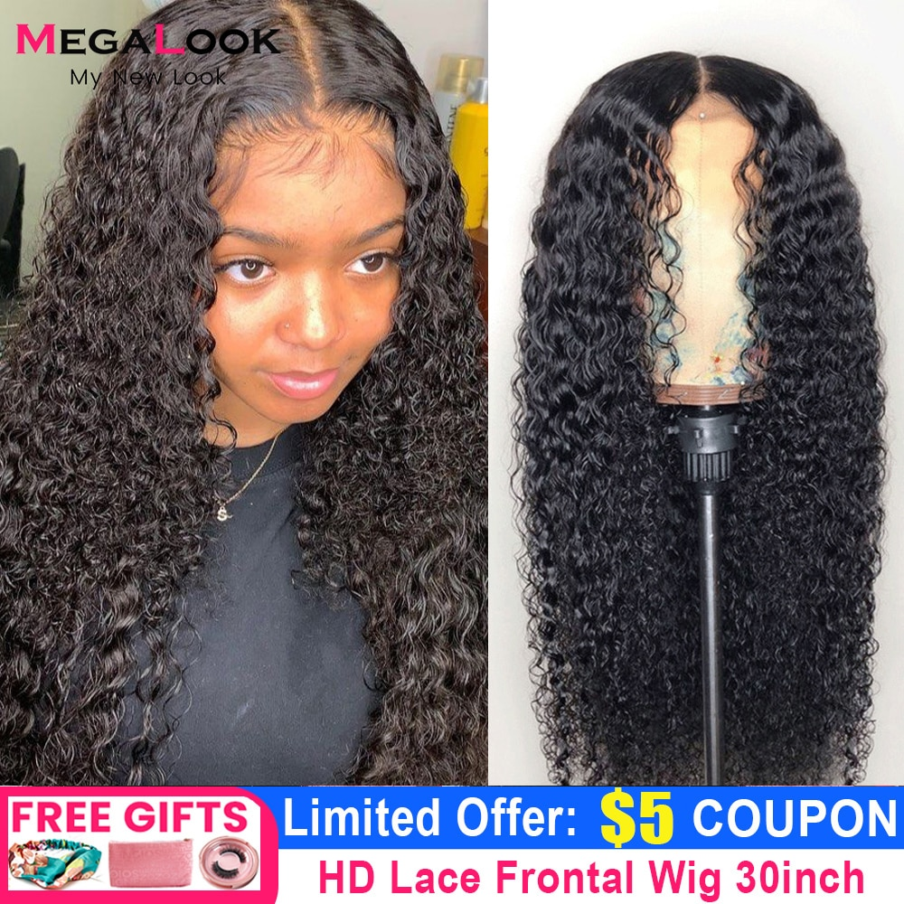 28 30 Inch Curly Lace Front Wig Transparent Lace Frontal Wig Pre Plucked Remy Brazilian T Part Lace Front Human Hair Wigs 180