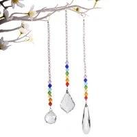 shiny handles crystal hanging prism ball chakra beads strand design rainbow suncatcher chandelier chrismas decoration