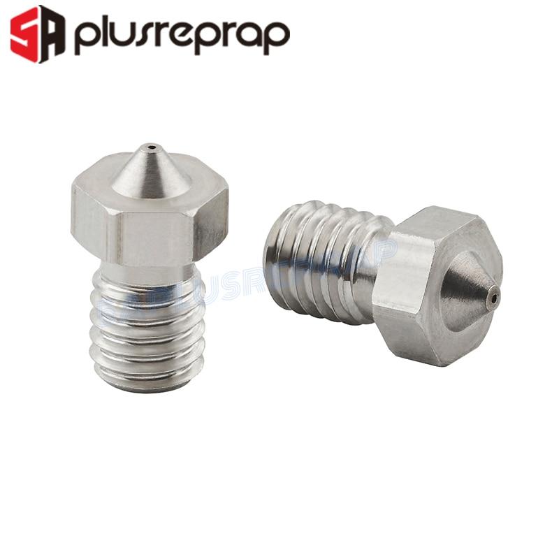 5 unidades por lote, boquilla de acero inoxidable V5 V6 de 0,3mm, 0,4mm, 0,5mm, roscada M6 para piezas de impresoras 3D, filamento de 1,75mm