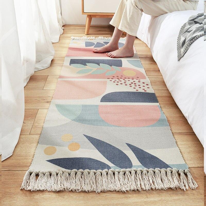 سجادة منسوجة يدويًا على الطريقة اليابانية ، ديكور منزلي ، سجادة أرضية لغرفة النوم ، بجانب السرير ، طويل ، لباب المدخل ، غرفة النوم