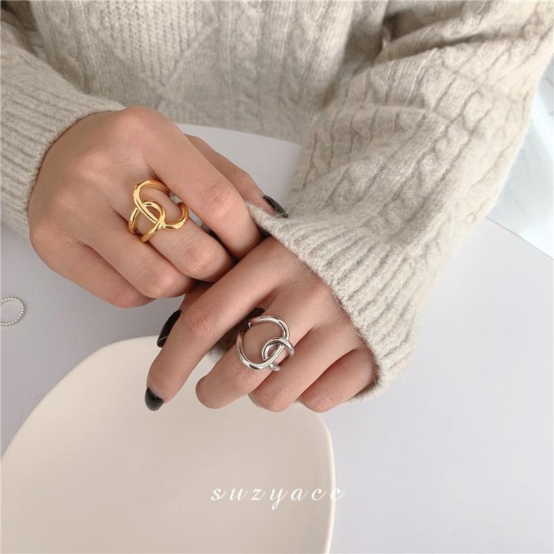 Anello in metallo semplice per gioielli coreani femminili anello personalizzato con nodo incrociato indice dito tendenza anello aperto per donna