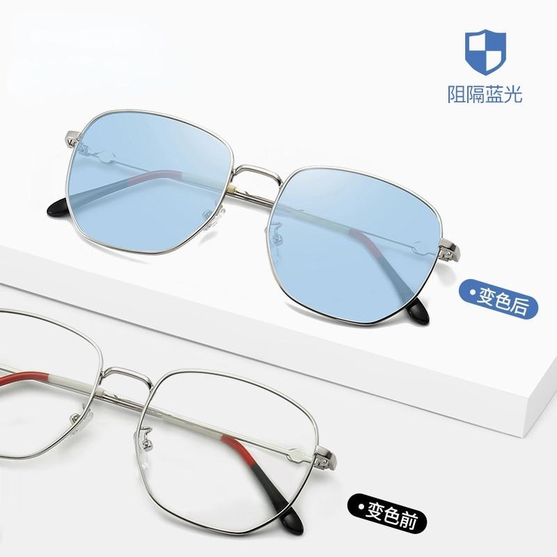 Photochromic Anti Blue Ray Light Blocking Glasses Women Ocean Color  Spectacle Lenses Men's Sunglass