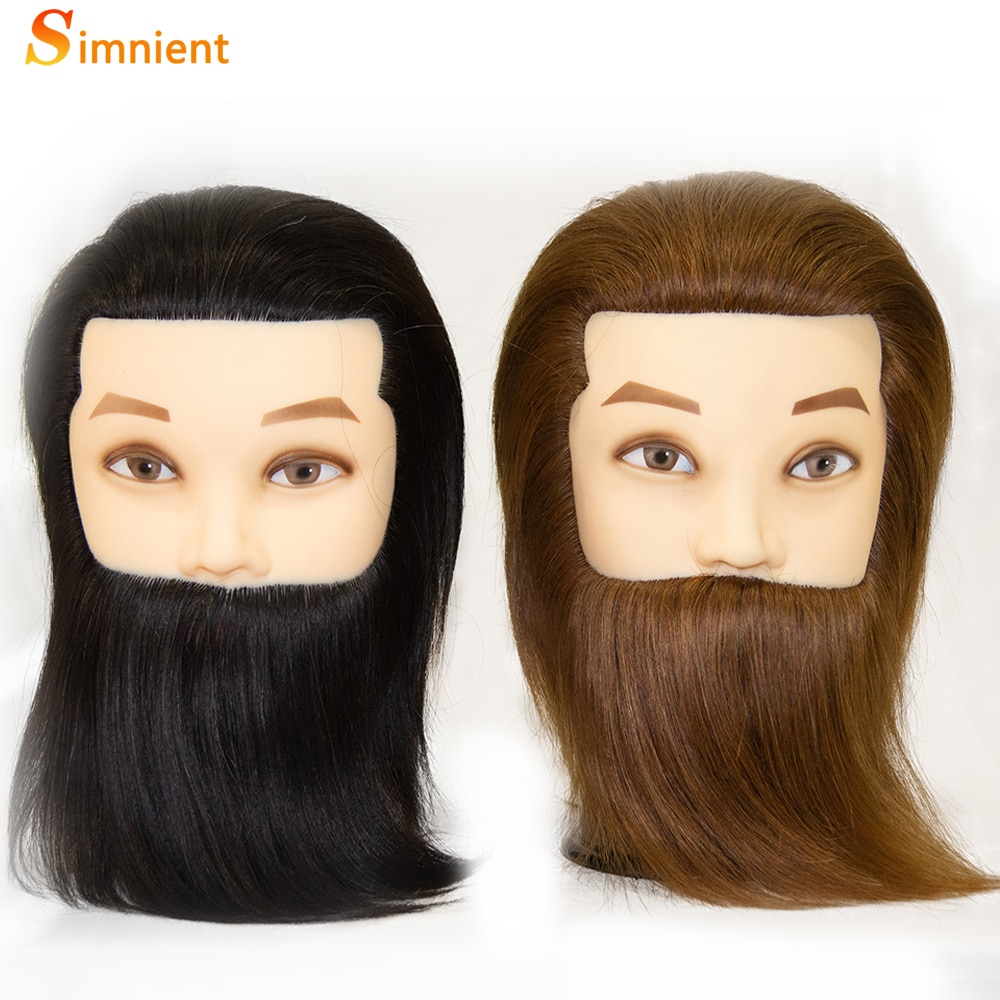 100% Human Hair Male Mannequin Head With Hair Beard Practice Manikin Hairdresser Cosmetology Training Doll Head For Hair Styling