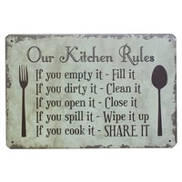 personalized our kitchen rules graphic tin sign poster home pubs bars poster wall art poster coffee metal sign