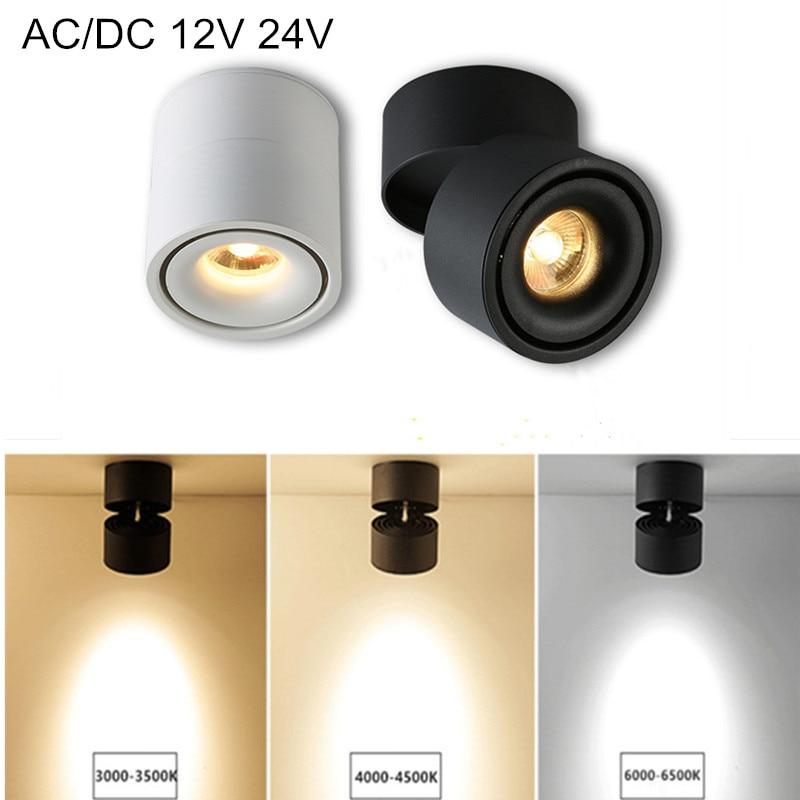 AC/DC 12V 24V 7W 10W 12W 15W سطح الخيالة LED النازل بقعة ضوء 360 زاوية قابل للتعديل السقف ضوء AC85-265V + LED سائق