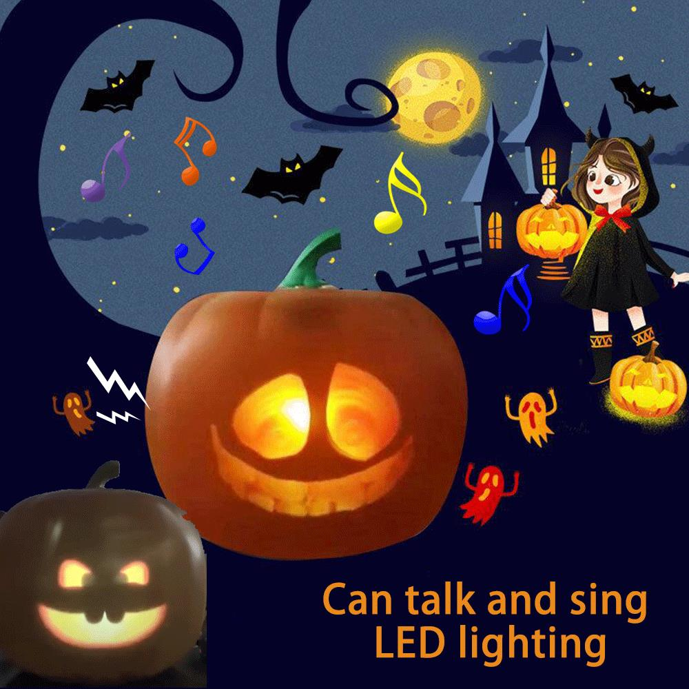 Halloween Pumpkin Head Toys Flash Talking Animated LED Projection Lamp For Home Party Lantern Decor Prop Boys Gifts Dropshipping