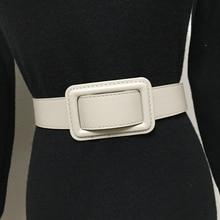 3.7cm Wide Women Belt Black Simple Versatile Decoration Buckle European American Waist Cover Apricot