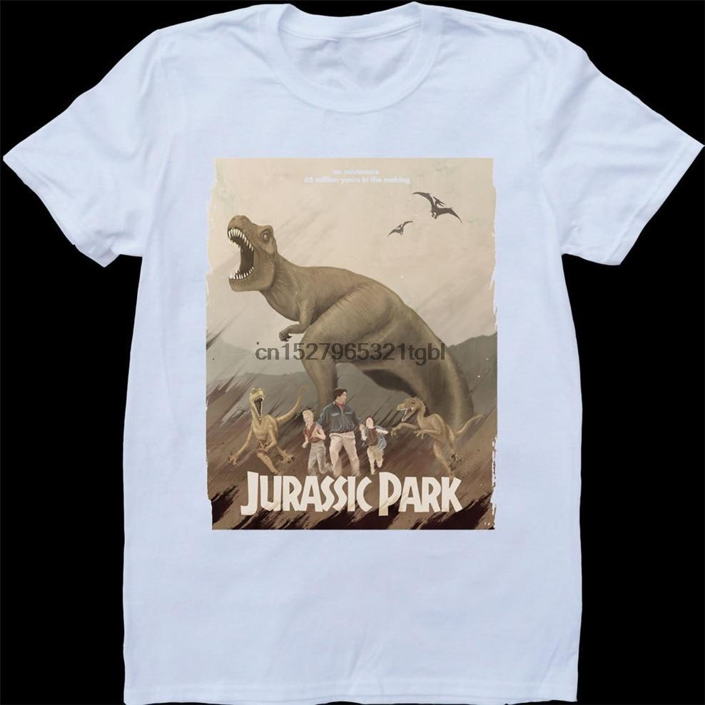 Белая футболка на заказ с принтом парка юррашика; Повседневная футболка