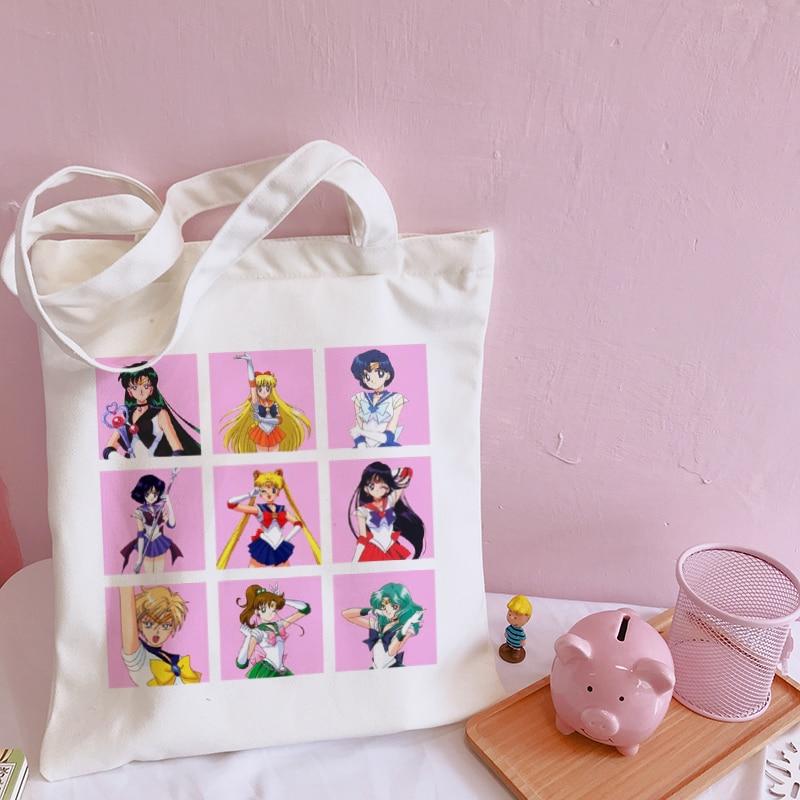 Sailor Moon New Casual Canvas Harajuku Ins estampado letra dibujos animados mujer Vintage divertido de gran capacidad mochilas de hombro de la Universidad