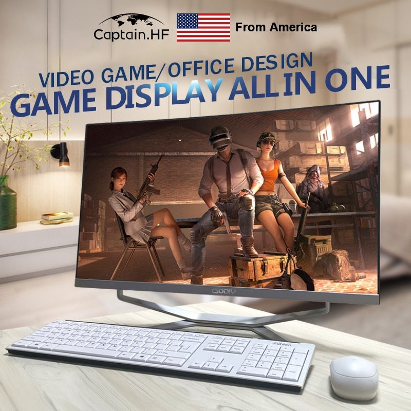 US Captain Fast PC Desktop 24 inch 16G RAM 1T SSD Ultrathin Curved Surface All-in-One Computer for Office and Home enlarge