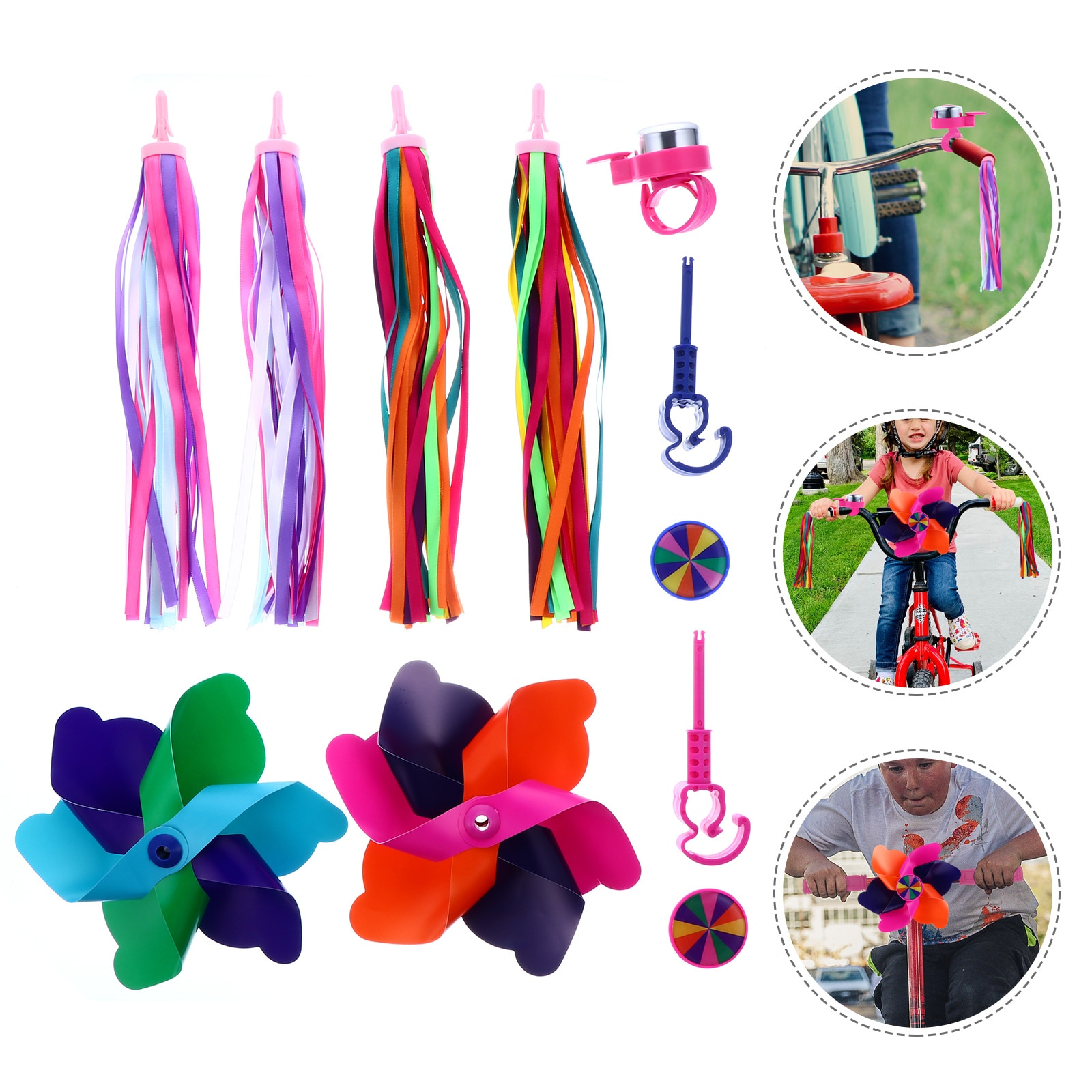 1 Set Children Bicycles Ribbons Windmills Bells Colorful Girl Bicycles Bells