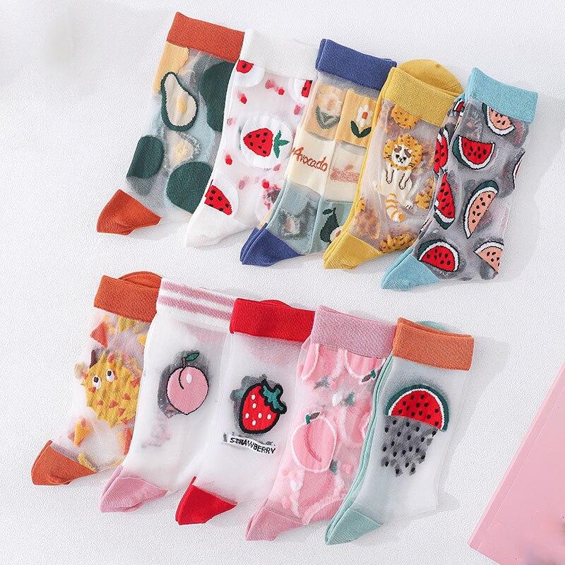 1Pair Japanese Korea Style Socks Women's Casual Creative Transparent Silk Trend Fruit Print Ultrathin Glass Silk Socks