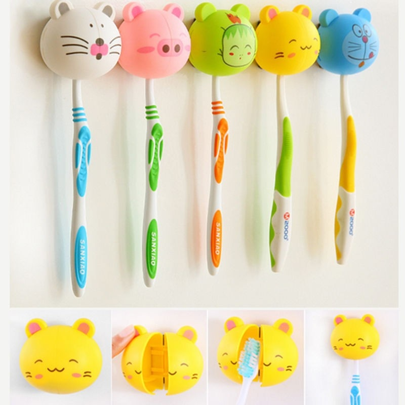 1Pc Creative Cute Lovely Cartoon Animal Toothbrush Holder With Wall Suction Cup Bathroom Decor Accessories Gift For Kids