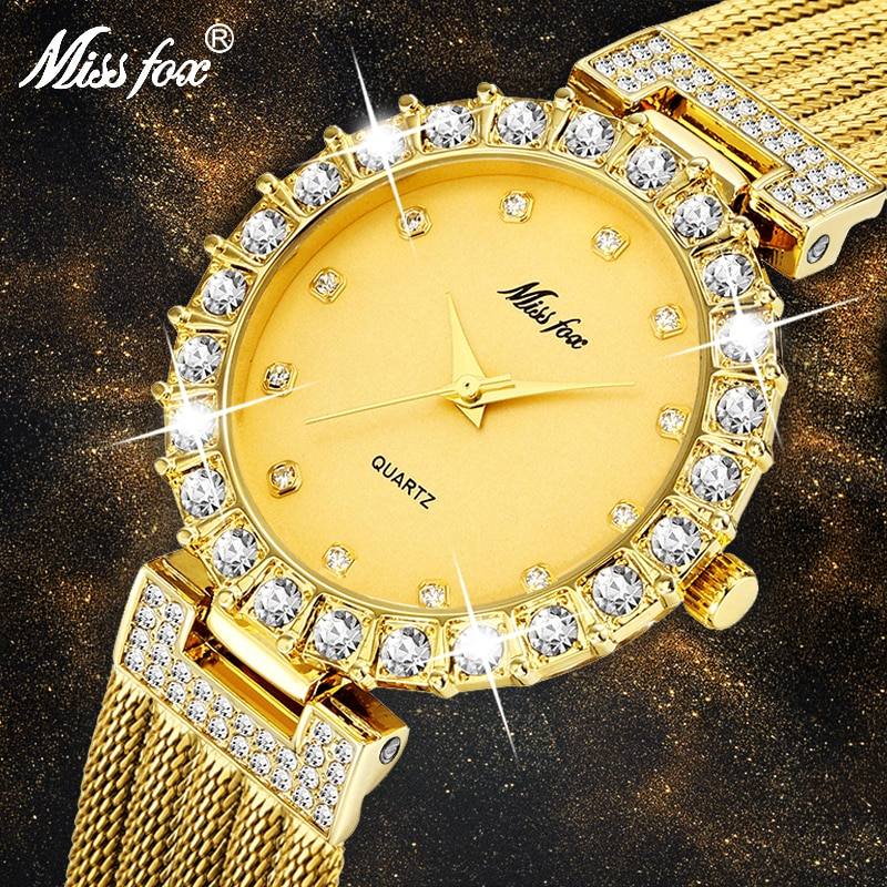 MISSFOX Women Watches Ultra-Thin Waterproof Copper Mesh Ladies Wrist Watches Bussiness Dress with 18K Gold Analog Quartz Watch enlarge