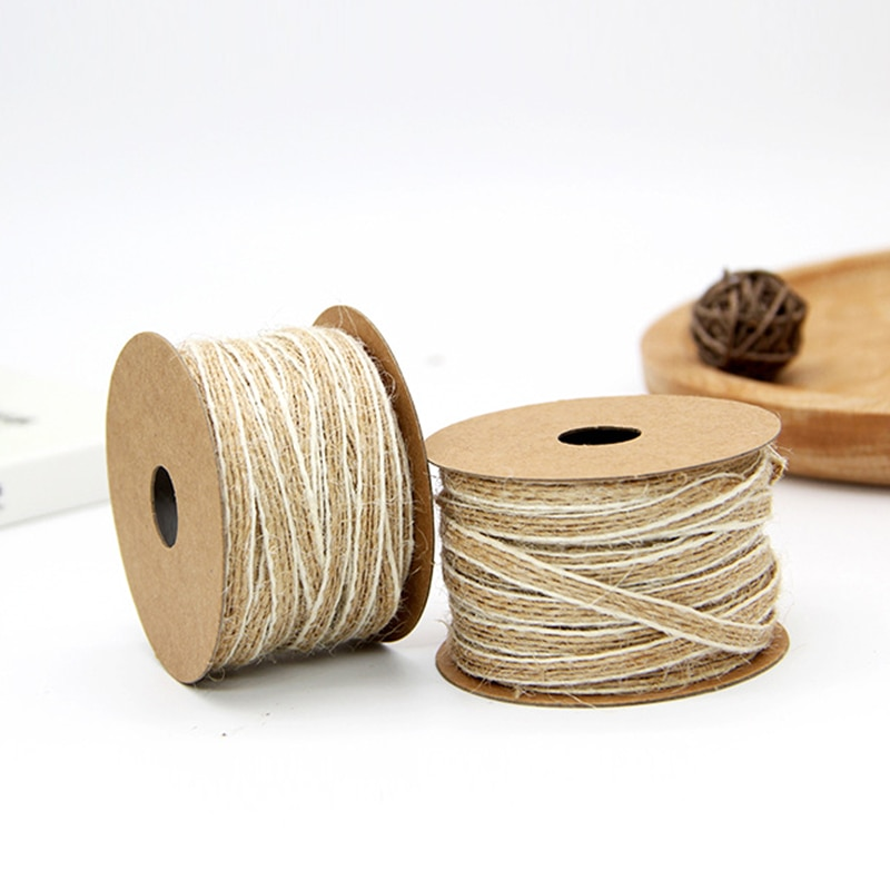 10M Jute Ribbons Vintage Farmhouse Style Burlap Cords Rustic Wedding Festival Holiday Decor Ornament Accessory Gift DIY Supplies