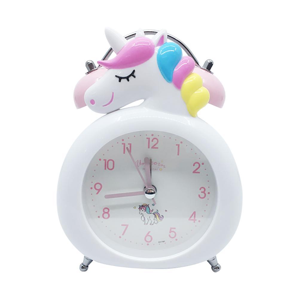 Cute Unicorn Clock Kids Cartoon Alarm Clocks Bedroom Bell Clock Night Light Table Wake Up Clock Child Christmas Birthday Gifts