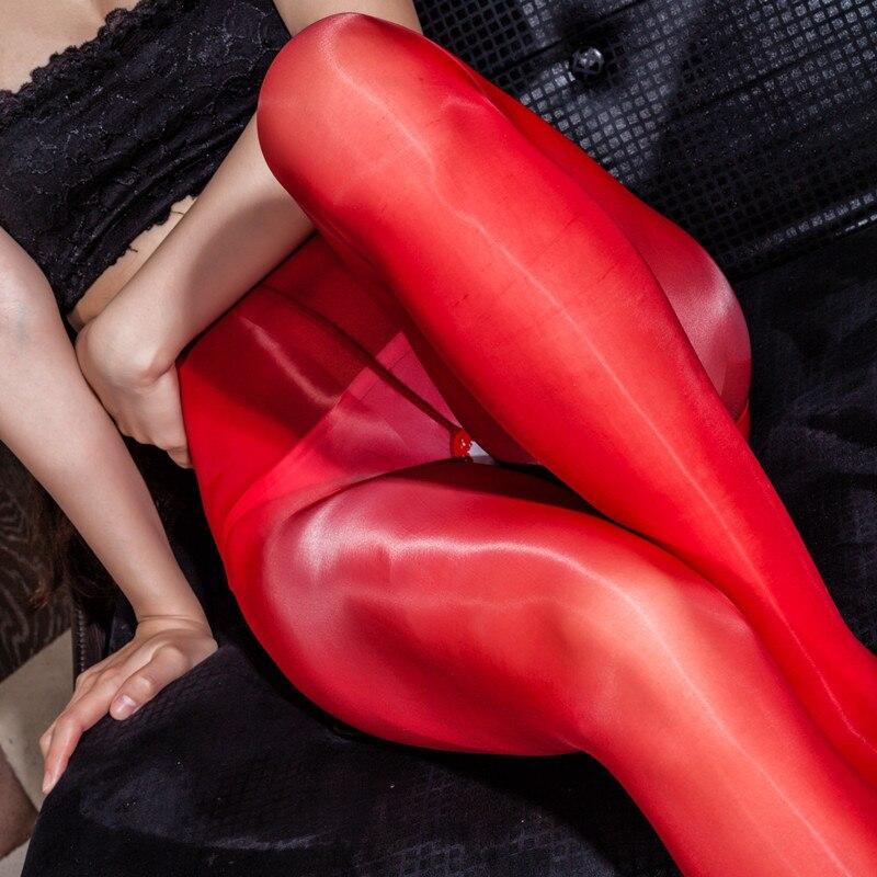 Óleo Brilhante Brilhante Fina Calças Lápis Quente Sexy de Fitness Leggings Crotchless Transparente Exotic Noite Clubwear Calças Virilha Aberta