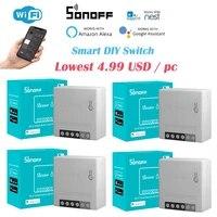 1-40 pieces SONOFF MINIR2 Wifi Sans Fil BRICOLAGE Mini R2 Interrupteur 2 Voies Cablage Intelligent Domotique  Soutien eWeLink Alexa Google Home