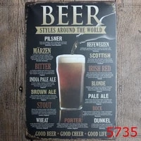 beer styles around the world vintage metal signs retro tin plate painting decorate the art wall for bar cafe pub and