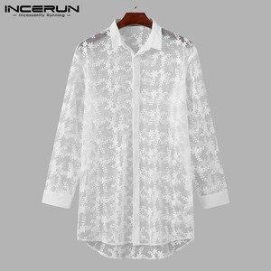 Рубашка INCERUN мужская с длинным рукавом, пикантная Свободная блузка на пуговицах, с отложным воротником, модная прозрачная блуза с принтом, 5XL 7