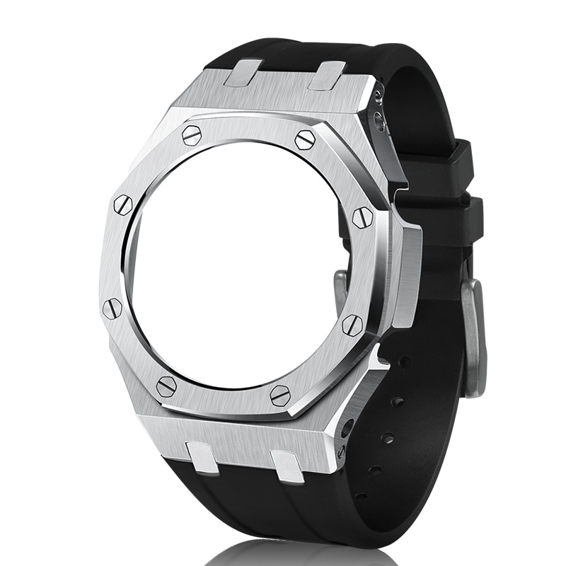 GA2100 Rubber Watch Band Strap Metal Bezel 3rd One-Piece Replacement Accessories for Casio G-Shock GA-2100/GA-2110