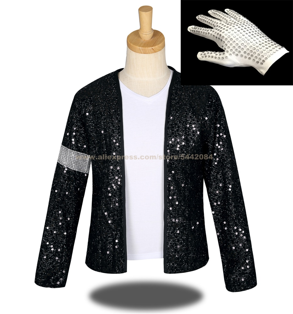 MJ Michael Jackson Cosplay abrigo Billie Jean negro Rhinestone brazalete chaqueta y guante prendas de vestir Halloween fiesta traje 1BLJD0213