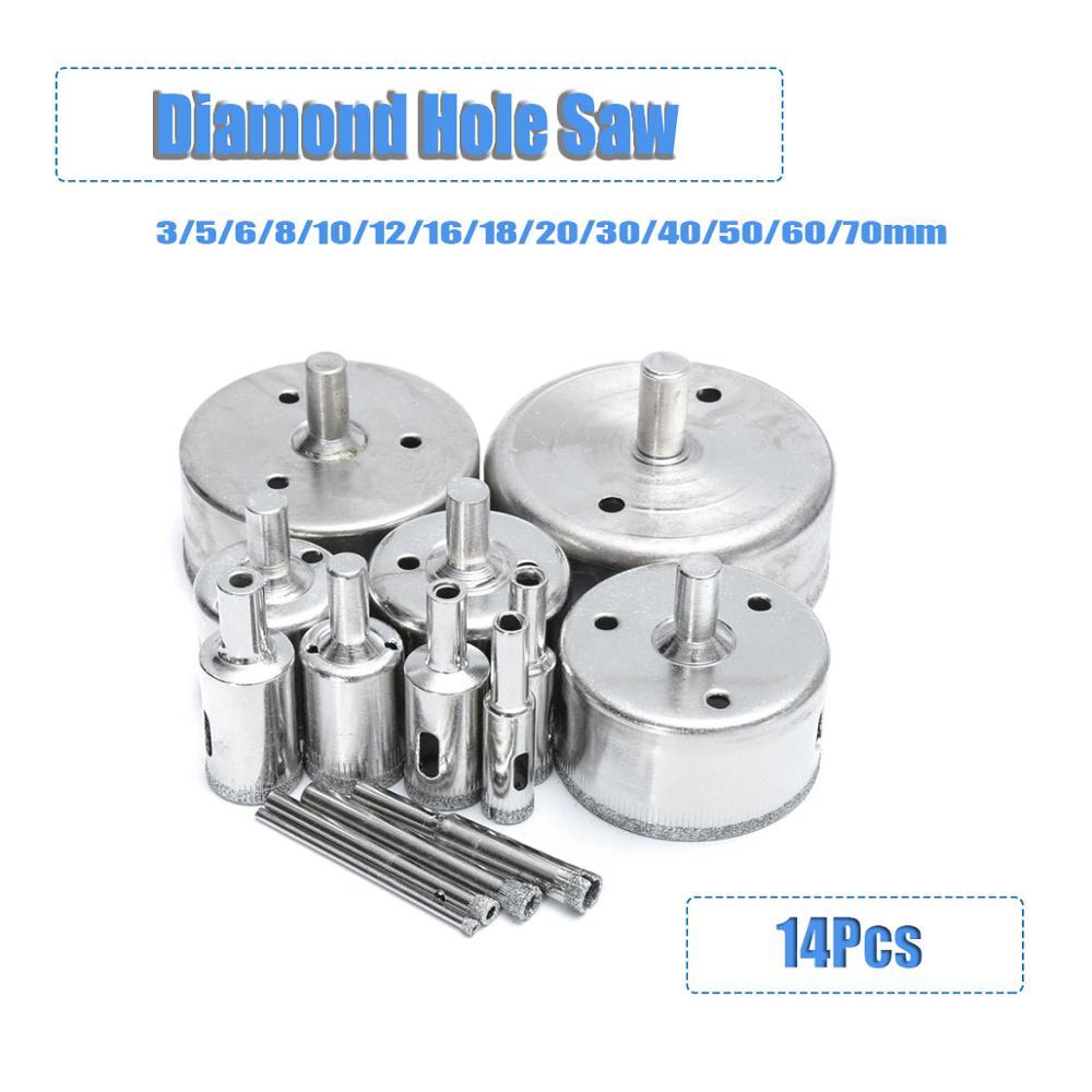 14Pcs 3-70mm Diamond Holesaw Drill Bit Tool For Ceramic Marble Porcelain Glass Diamond Holes Saw Drill Bits