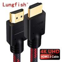 Lungfish HDMI-совместимый кабель 2,0 4K 1080P 3D позолоченный высокоскоростной для PS3 HD TV Mi Box проектора ноутбука
