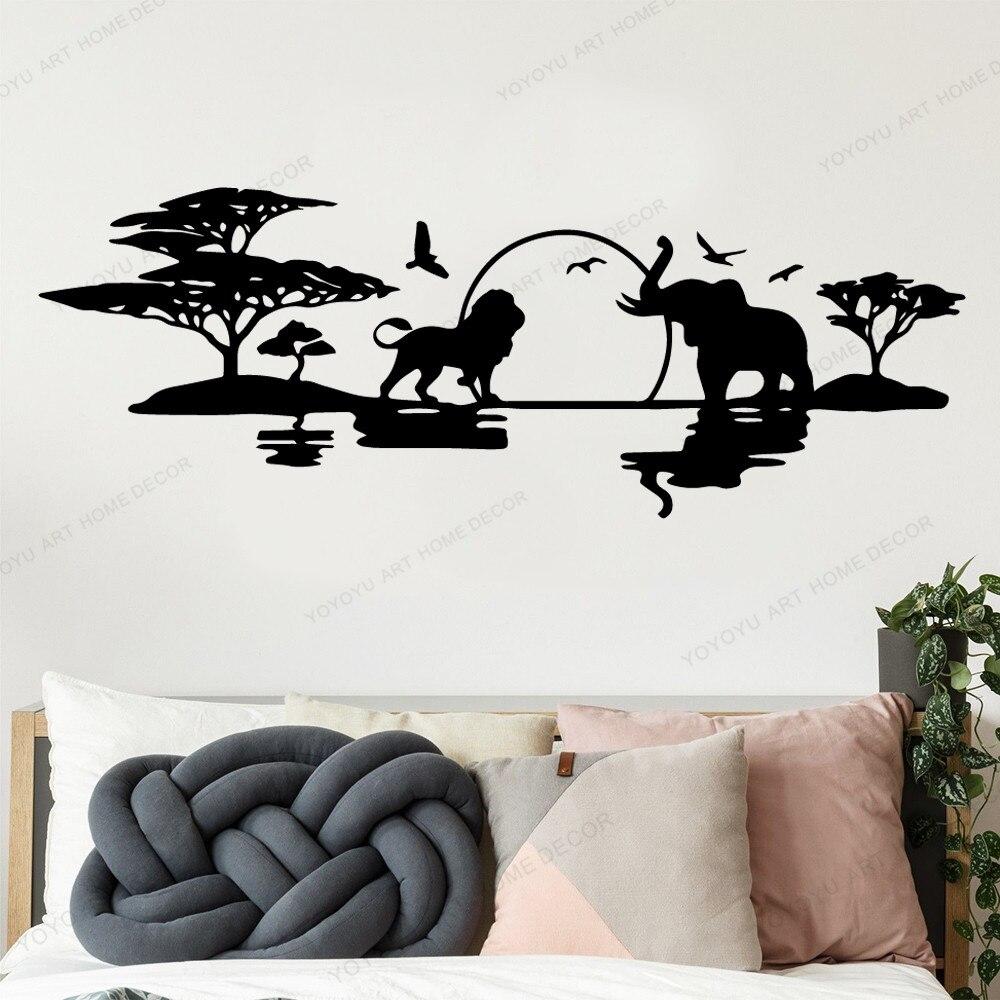 Papel pintado de vinilo de bosque africano de animales románticos para decoración del hogar chico Decoración Para sala de estar pared Mural de fondo pared arte calcomanía AY2007