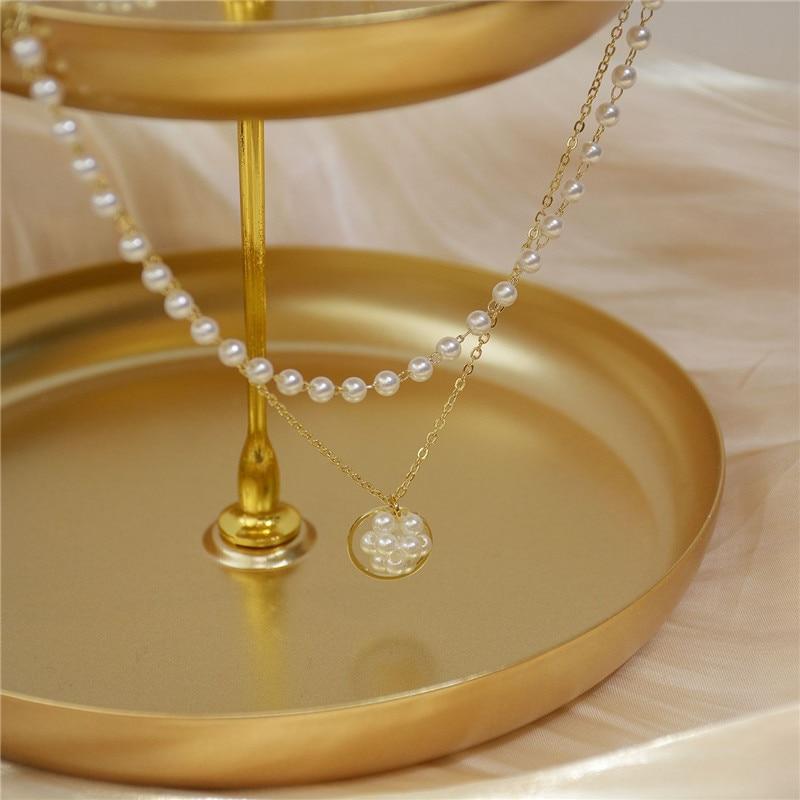 Collar de imitación de colgante de perla de moda exquisita coreana, cadena de clavícula doble de lujo para mujer, accesorios de joyería nuevos para regalo 2020